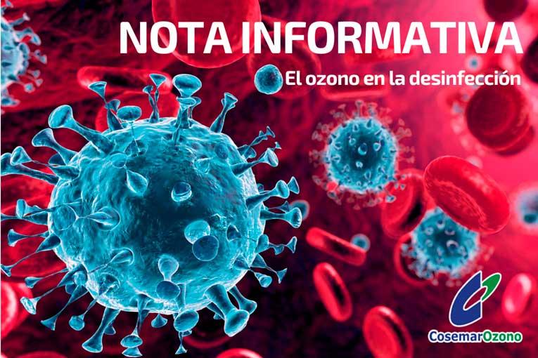 Nota informativa: Ozono en la desinfección