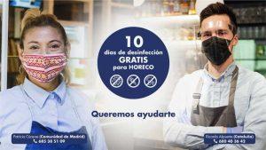 Campaña 10 días gratis de desinfección para la hostelería de Madrid y Cataluña